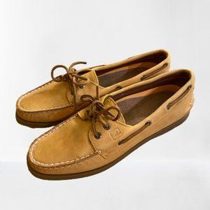 Sperry Light Tan Leather Boat Shoes 9M